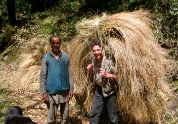 Me carrying hay in the Himilayas